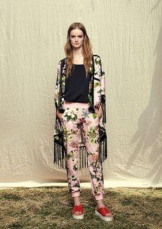 Model wears Naughty Dog SS17 floral print Kimono and matching pants.