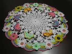 Krone Crochet: Brand new crochet doily with sunflowers and buttef...