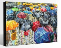 Items similar to OIL Painting LANDSCAPE Painting Giclee Print Canvas Print Fine Art Print of ORIGINAL Painting Umbrellas Painting Rain Cityscape Painting on Etsy