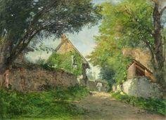 Adolphe-Félix Cals, Ruelle à Honfleur, h/t signée, datée 1877 (Drouot) Honfleur, Landscape Paintings, October, Oil On Canvas, Landscape Drawings