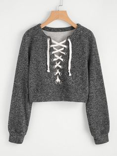 Shein Grommet Lace Up Marled Knit Crop Sweatshirt