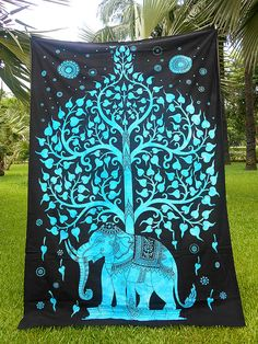 BLACK BLUE ELEPHANT Handmade Cotton Wall Hanging Throw Hippie Wall Tapestry Bohemian Boho Elephant Bedding Bedspread Home Decor Ethnic Art