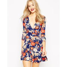 ASOS Floral Wrap Skater Dress ($51) ❤ liked on Polyvore featuring dresses, multi, floral print dress, asos dresses, wrap dress, pink floral dress and tall dresses