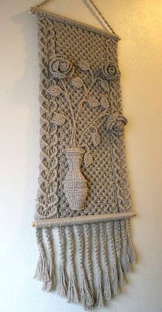 Taupe Grey Macrame Wall Hanging Flower Vase от TheArtofSalvage, $45.00