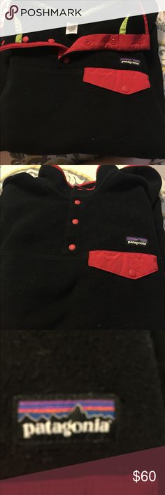 Women's Patagonia pull over Red and black size large women's Patagonia snap t pullover. Used and in good condition. Patagonia Tops Sweatshirts & Hoodies