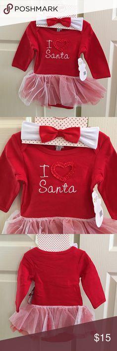 NWT I love Santa tutu bodysuit/hairband 3/6 months As shown Baby Gear One Pieces Bodysuits
