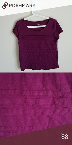Loft layered tee Very pretty deep purple color. Layers/stripes of fabric. LOFT Tops Tees - Short Sleeve