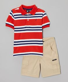 Another great find on #zulily! Nautica Red & Navy Stripe Polo & Khaki Shorts - Infant, Toddler & Boys by Nautica #zulilyfinds
