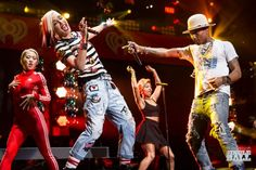 Gwen Stefani and Pharrell onstage during iHeartRadio Jingle Ball 2014, hosted by Z100 New York at Madison Square Garden on December 12, 2014 in New York City. (Photo: Andrew Swartz for iHeartRadio)