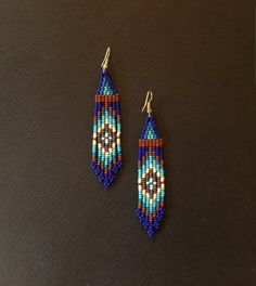 Beaded earrings Seed bead earrings huichol earrings 1 cm width 3 inches long plus hook Beaded Earrings Native, Beaded Earrings Patterns, Beaded Tassel Earrings, Tribal Earrings, Seed Bead Earrings, Boho Earrings, Beading Patterns, Beading Tutorials, Bracelet Patterns