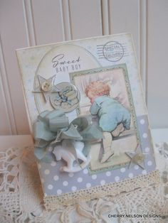 vintage baby card- BABY BOY card- baby shower card- handmade baby card. $8.75, via Etsy.