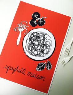 "Kitchen Art French Decor 11""x16"" Italian Spaghetti Pasta, Art Print French Red Kitchen Illustration, French Home Decor on Etsy, $32.00"