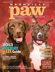Nashville Paw magazine's Holiday Issue: December 2013 / January 2014. We had a blast during our holiday cover shoot at Williamson County Animal Control in Franklin! Baylee and Bree truly captured our hearts and claimed our holiday cover. Cover photo by Michelle Conner, michelleconner.com. #nashvillepaw #magazinecover #nashville #magazine #nashvilletn #petphotography #animalrescue #adoptable #pitbull #labrador #shelterdogs