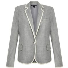 Theory Grey Melange Elisity Pure Flannel Wool Blazer (310 AUD) ❤ liked on Polyvore featuring outerwear, jackets, blazers, grey, blazer jacket, gray blazer, grey wool jacket, fitted jacket and flannel blazer