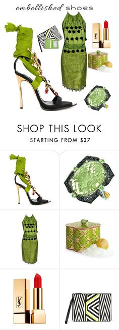 """""""Embellished Shoes"""" by rosalindmarshall ❤ liked on Polyvore featuring Dsquared2, Phillip Gavriel, Versace, Agraria, Yves Saint Laurent, MCM and Royce Leather"""