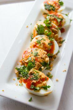 Sriracha Devilled Eggs - but change mayo for yogurt