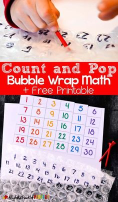 Count and Pop Bubble Wrap Math and Free Printable: a fun hands on learning activity and fine motor skills practice. Your child will have a blast popping the bubbles while learning numbers. and early math concepts. Math Activities For Kids, Math For Kids, Preschool Learning, Maths Fun, Number Activities, Preschool Class, Pop Bubble, Bubble Wrap, Math Numbers