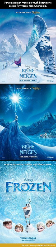 Movie posters Disney Frozen: Difference between the French posters & American
