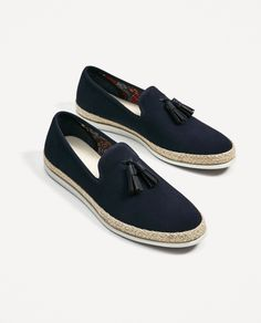 ZARA - MAN - BLUE LEATHER LOAFERS WITH JUTE SOLES