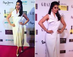 #SophieChoudry in Tanieya Khanuja white dress