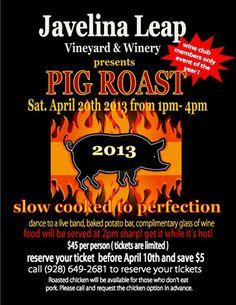 Javelina Leap Vineyard has a fun member event coming up! Saturday, April 20th they will be having a Pig Roast! http://www.javelinaleapwinery.com/  #Arizona #Wine #Arizonawine #sedona