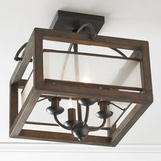 Square Wood Frame and Sheer Ceiling Light natural_wood_and_bronze | Shades of Light