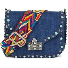 Valentino Rockstud Rolling small denim shoulder bag (26.782.390 IDR) ❤ liked on Polyvore featuring bags, handbags, shoulder bags, studded purse, shoulder handbags, studded shoulder bag, blue purse and denim purse