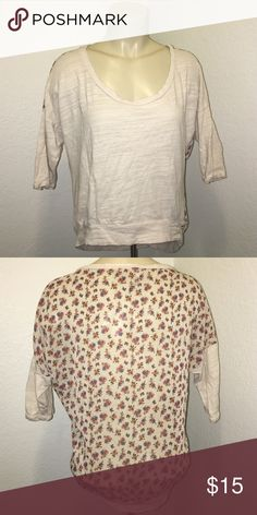 Creme Floral Print Sheer Back Blouse Beautiful sheer back floral print blouse. Shorter in the front than the back. Size medium. Brand: Eyeshadow. Very chic and perfect for fall! Eyeshadow Tops Blouses