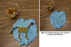 for the dino lover in my house...make dinosaur fossil imprints in play-dough with various noodles. Dinosaur Theme Preschool, Dinosaur Play, Dinosaur Activities, Dinosaur Crafts, The Good Dinosaur, Preschool Themes, Preschool Activities, Dinosaur Fossils, Preschool Curriculum