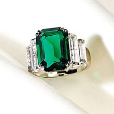 Maximilian Emerald Ring, the  Emperor's Emerald, once set in a ring of Maximilian I (crowned emperor of Mexico in 1864), the stunning 21-carat Columbian emerald was later reset in a Cartier, Inc. design with six baguette-cut diamonds. Donated to the Smithsonian in 1964 by Marjorie Merriweather Post. Source: Smithsonian