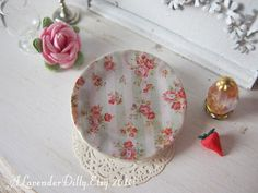 Vintage Stripe Pink Roses Plate for Dollhouse by ALavenderDilly