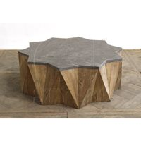 Star Coffee Table Pine W/ Blue Stone Top-Click for Larger Picture