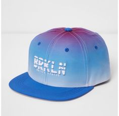 Checkout this Boys blue ombre 'Brooklyn' flat peak cap from River Island