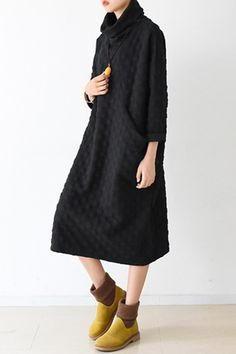 Fall Warm Black Cotton Wave Point Dresses Long Sleeve Winter Clothes