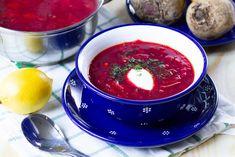 Barszcz z buraków, fasoli, kapusty i warzyw korzennych Cream Soup, Sour Cream, Savoy Cabbage, Borscht, Celeriac, Stuffed Mushrooms, Stuffed Peppers, Fried Vegetables, Fresh Dill