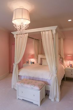 Little Girl's Bedroom + Bathroom   www.designsbydurham.com   www.livengoodphotographs.com   Every little girl needs a space to grow and flourish into a young lady.   canopy bed · canopy four poster bed · custom lighting · girls bedroom · Hickory Chair night stands · Hickory Chair poster bed · kids bedroom · little girls bedroom · Pine Cone Hill · pine cone hill coverlet · pink paint · princess bedroom · schonbek lighting · Shantung · traditional · velvet coverlet by Pottery Barn kids