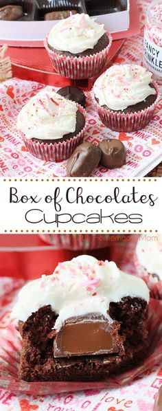 Box of Chocolates Cupcakes - so fun with Devil's food cake mix with a chocolate pressed inside topped with cream cheese frosting: the perfect chocolate cupcake for Valentine's Day! Cupcake Recipes, Cupcake Cakes, Dessert Recipes, Party Recipes, Party Cupcakes, Cupcake Flavors, Cup Cakes, Chocolate Box, Chocolate Cupcakes