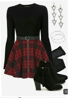 Edgy Outfits, Cute Casual Outfits, Pretty Outfits, Fall Outfits, Grunge Outfits, Vampire Outfits, Goth Girl Outfits, Red And Black Outfits, Weekly Outfits