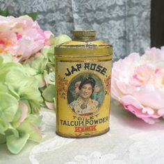 Rare Antique Jap Rose Toilet Talcum Powder Tin Bottle, Kirk Talc, Geisha, Advertising, Yellow bamboo, Collectable, Decorative vanity bathroom décor  This Rare tin, Jap Rose, from Kirk, Chicago est. 1839 has great graphics. I adore the colors, gentle patina and pretty portrait. Its a 3 oz bottle.  This tin would be a great addition to your collection, very versatile for art deco, Victorian, Art Nouveau bathroom and vanity decor, or shabby chic, cabin barn chic storage piece.  This tin in…