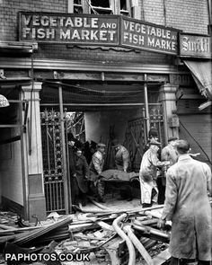 The scene at Smithfield market, London, soon after the explosion of a German V-2 rocket.