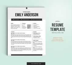 Resume Template 2pk  Professional Resume and Cover by pixelandoak