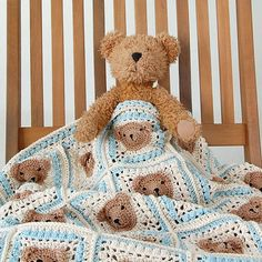 Vintage style crochet teddy bear baby blanket pattern and
