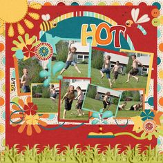 """Summer Fun...I love how you can actually feel the """"summer fun"""" by the arrangement of the photos, without the page looking """"messy"""""""