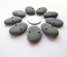 Double Drilled Beach Pebbles Set of 9 by PlymouthRocks on Etsy, $9.00