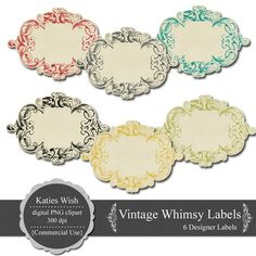 Vintage Whimsy Labels PNG Clip Art Digital by KatiesWish on Etsy  https://www.etsy.com/listing/70291922/vintage-whimsy-labels-png-clip-art?ref=shop_home_active_21