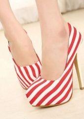 Fashion Round Toe Closed Stiletto High Heel Basic Red PU Pumps