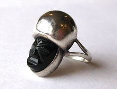 Vintage Ring Mexican Sterling Silver & Onyx by SanDiegoJewelryShop, $78.00