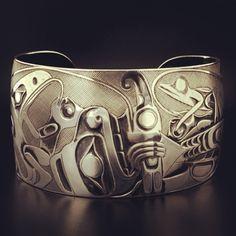 Sterling Silver Cuff by Jay Simeon, Haida artist 'Panel Pipe' design