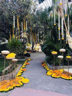 Get the best DIY Mehndi Decor ideas our favourite DIY décor inspiration Wedding Walkway, Wedding Entrance, Wedding Mandap, Entrance Decor, Wedding Stage Decorations, Diwali Decorations, Flower Decorations, Marriage Decoration, Mehndi Decor