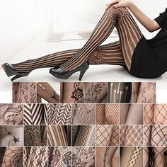 2016 Hot Fashion Women Sexy Black Fishnet Pattern Jacquard Calcetines Leg Warmers Stockings Pantyhose Tights 27 Style W1